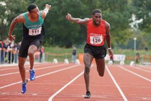 Keitharo Oosterwolde werd eerste op de 100m (foto AtletiekUnie)